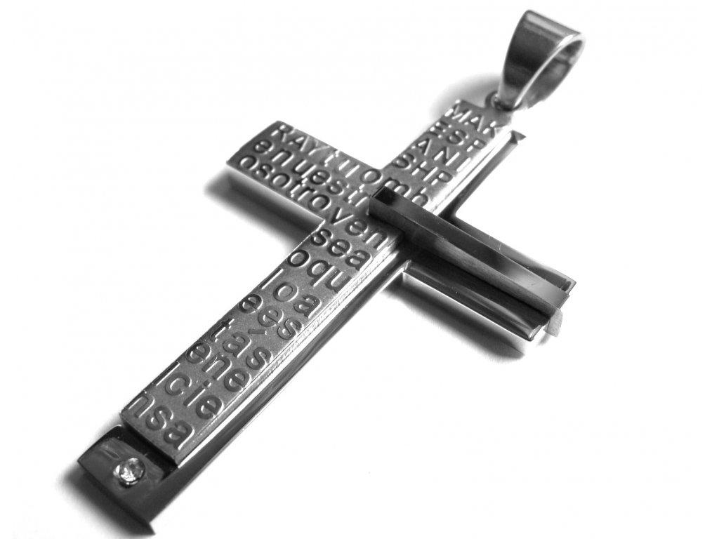 přívěsek - chirurgická ocel - kříž - 150325
