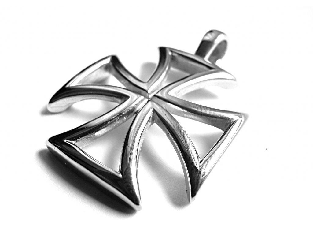 přívěsek - maltézský kříž - motorkářský - chirurgická ocel - 090218