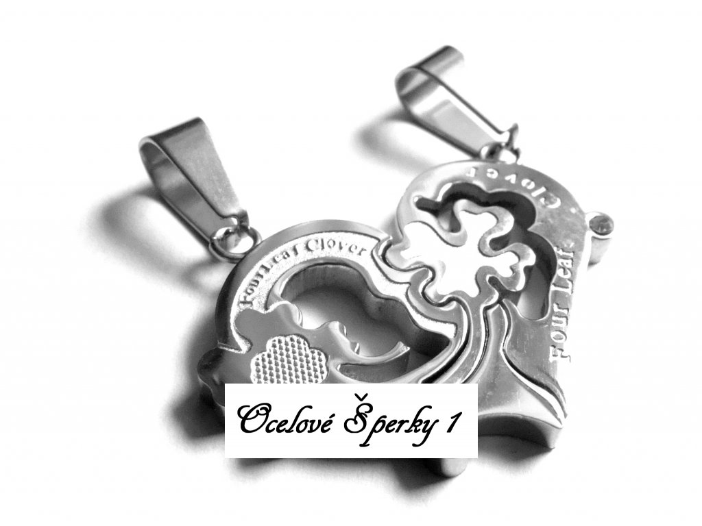 přívěsek pro dva - chirurgická ocel - partnerské srdce - 252152