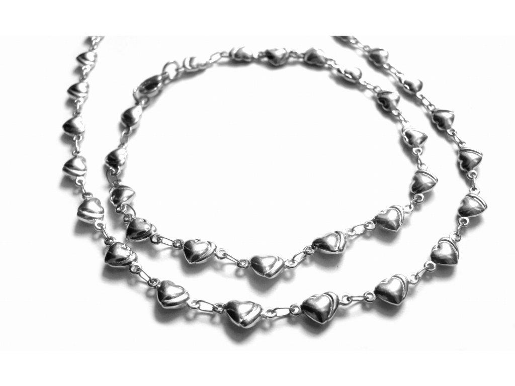 souprava - řetízek (náhrdelník) a náramek - chirurgická ocel - jemný - 606017