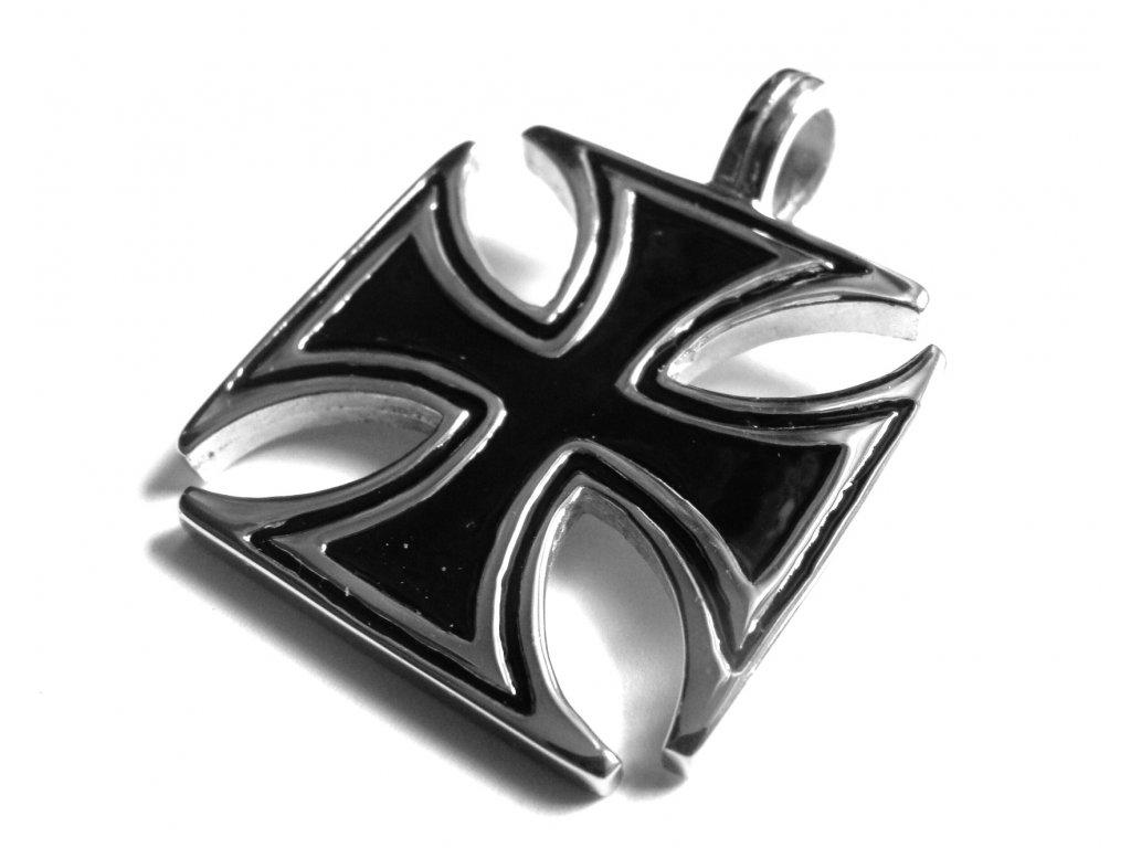 přívěsek - maltézský kříž - motorkářský - chirurgická ocel - 150318