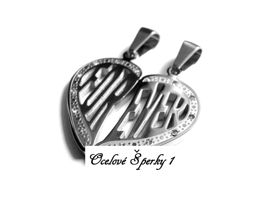 přívěsek pro dva - chirurgická ocel - partnerské srdce - 130183