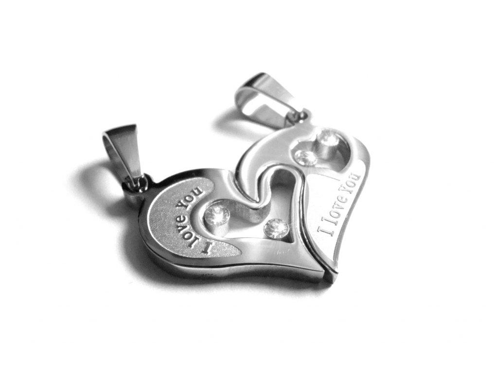 přívěsek pro dva - chirurgická ocel - partnerské srdce - 090390