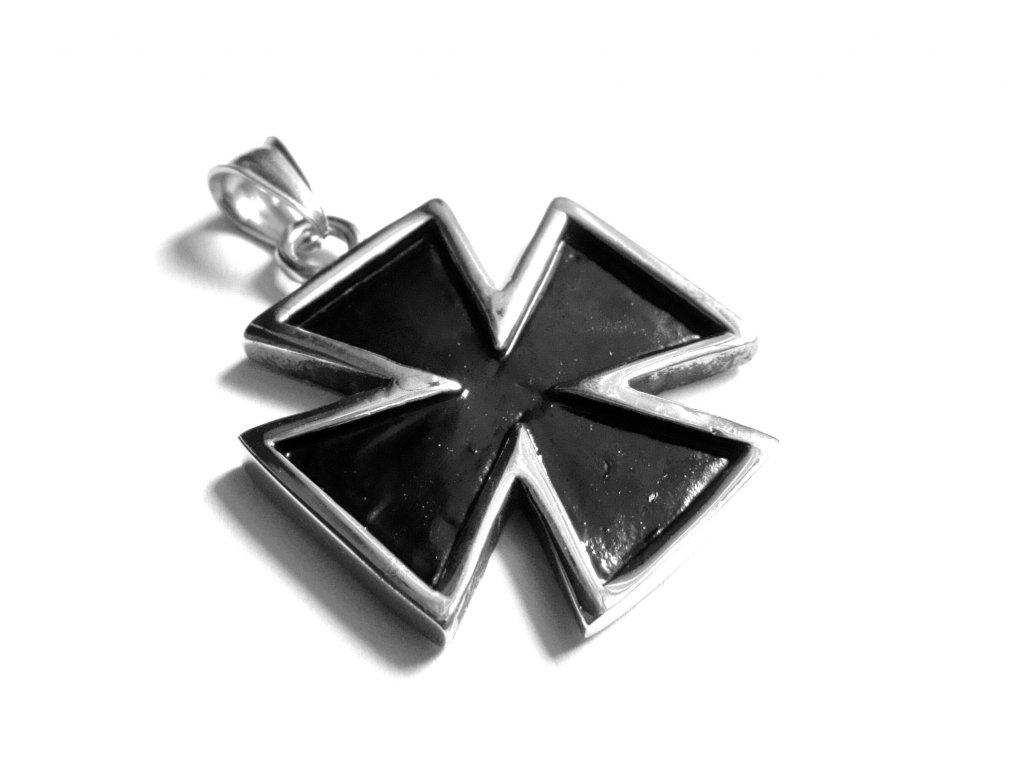 přívěsek - maltézský kříž - chirurgická ocel - motorkářský - 090449