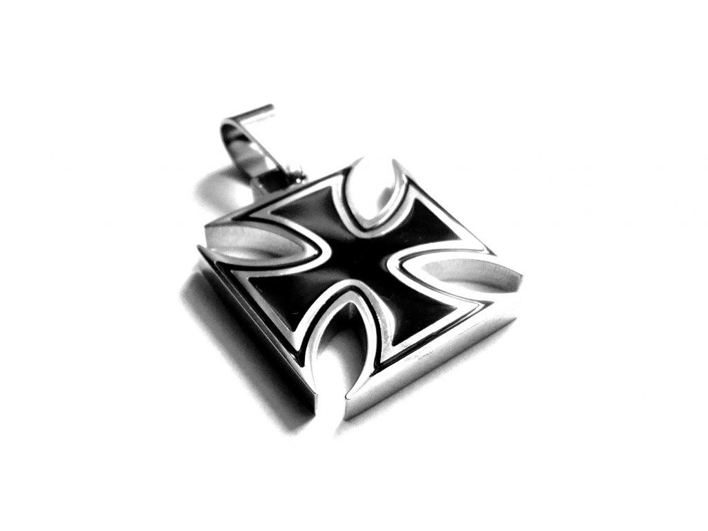 přívěsek - maltézský kříž - motorkářský - chirurgická ocel - 150319