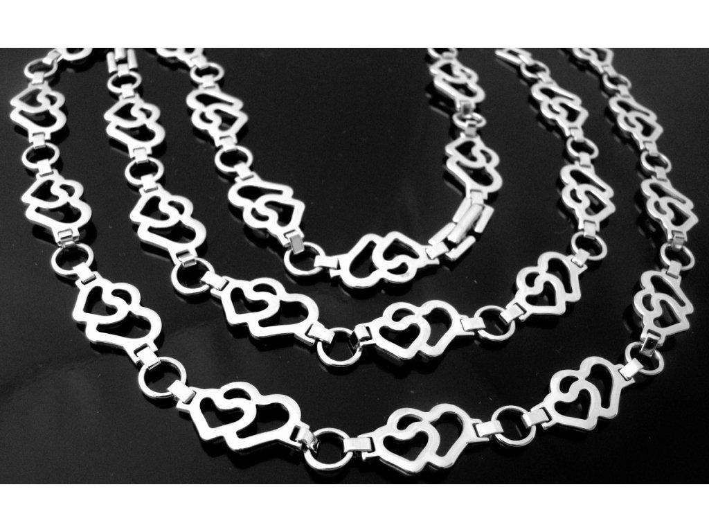 řetízek (náhrdelník) a náramek - chirurgická ocel - srdíčka - 130156