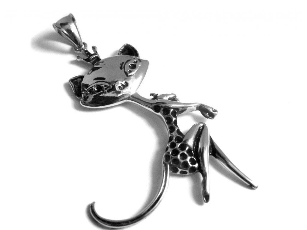 přívěsek - chirurgická ocel - kočka - 150218