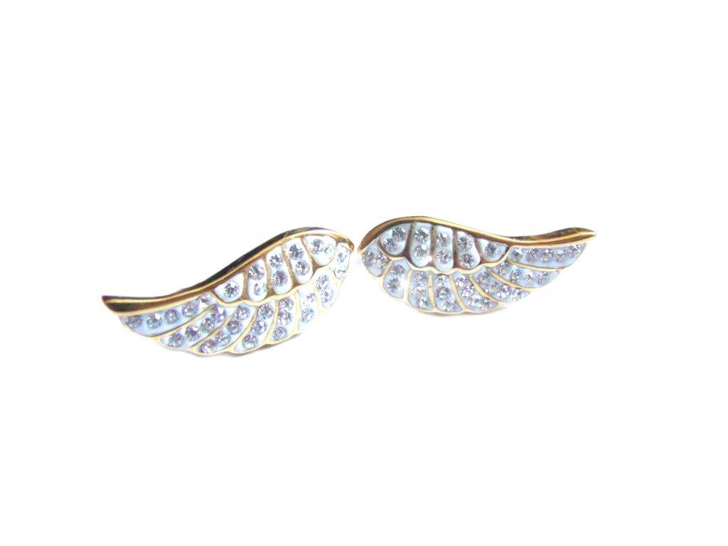 náušnice - chirurgická ocel - křídla s kříšťálky - 171107