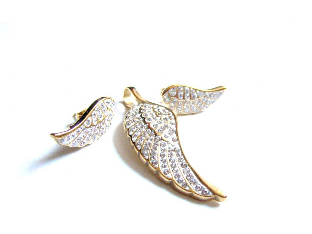 souprava - náušnice a přívěsek - chirurgická ocel - andělská křídla - 090452