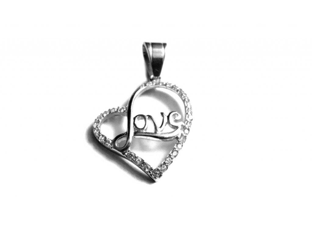 přívěsek - chirurgická ocel - srdce - 090330