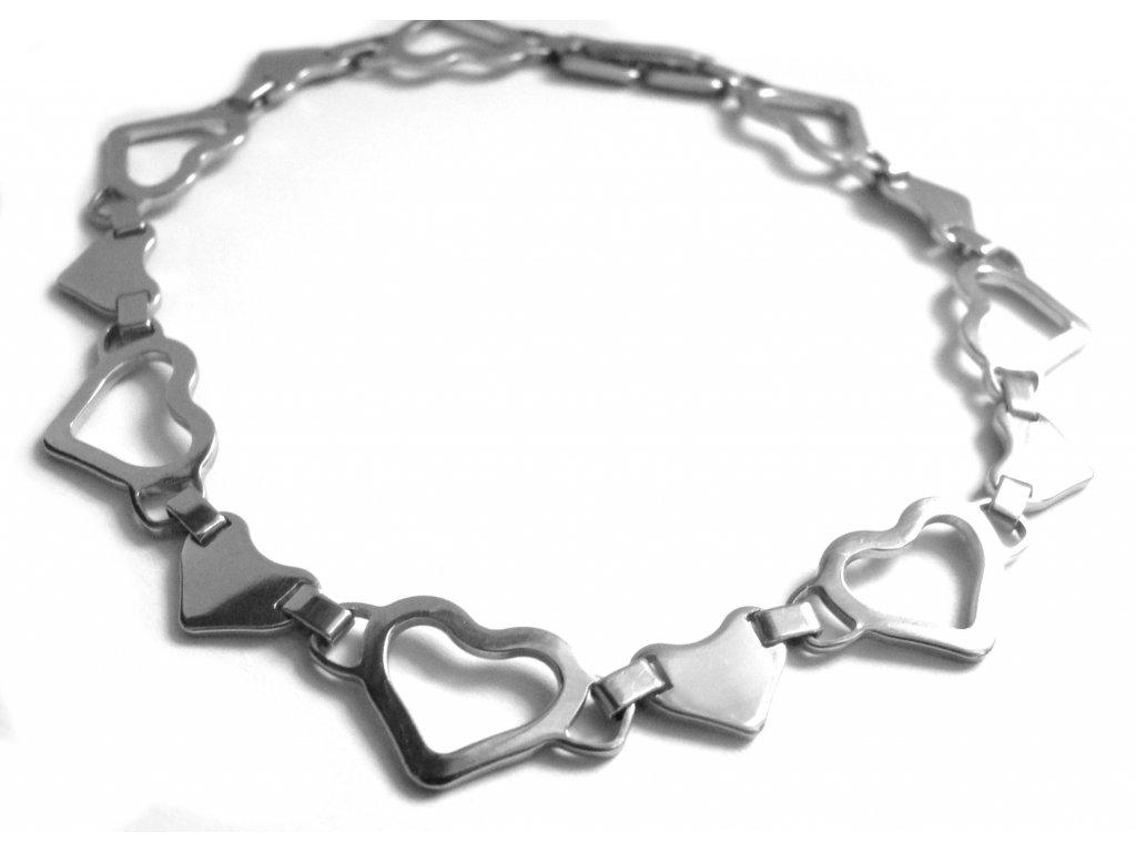 náramek - chirurgická ocel - srdíčka - dámský - 150229
