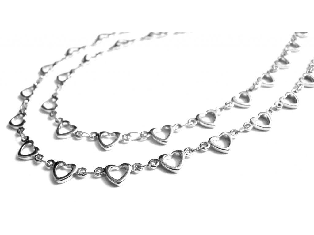 řetízek (náhrdelník) -chirurgická ocel - srdíčka - 180122