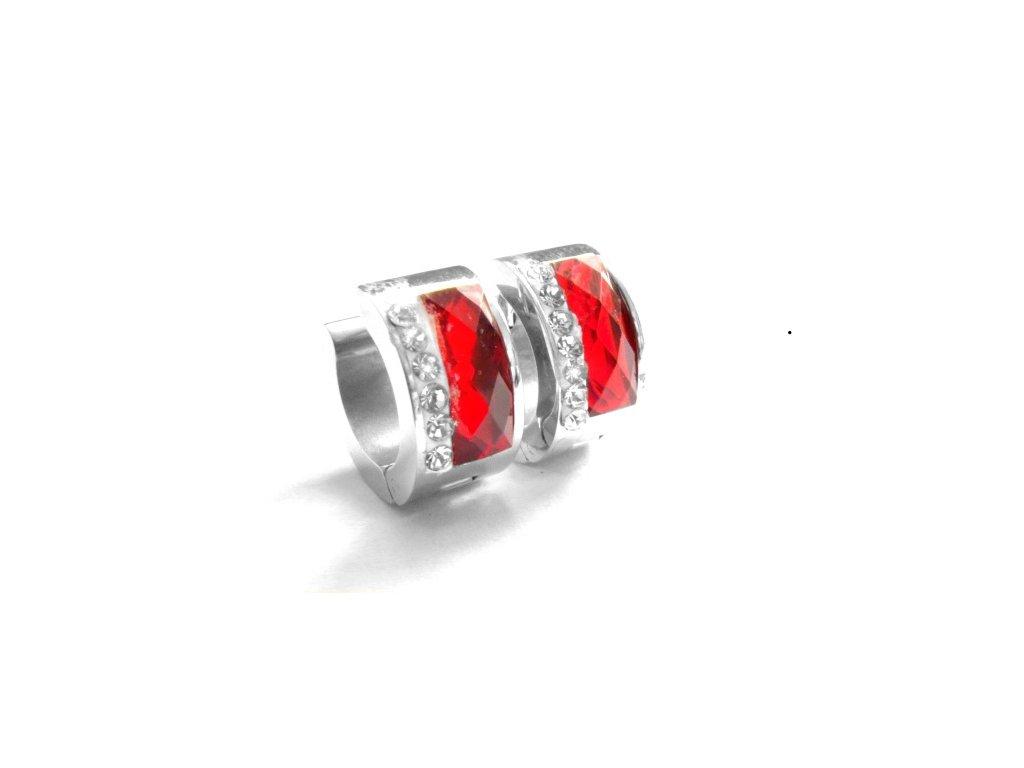 náušnice - chirurgická ocel - kroužky červené - 090493