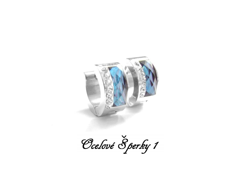 náušnice - chirurgická ocel - kroužky modré - 140216