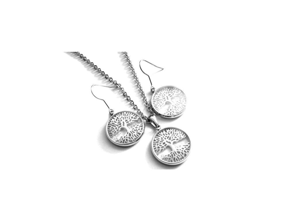 souprava - náhrdelník a náušnice - chirurgická ocel - strom života - 150303