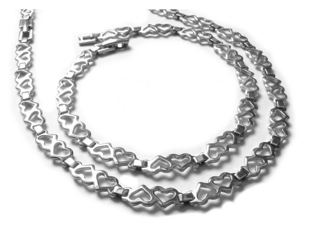 souprava - řetízek (náhrdelník) a náramek - chirurgická ocel - srdíčka - 140901