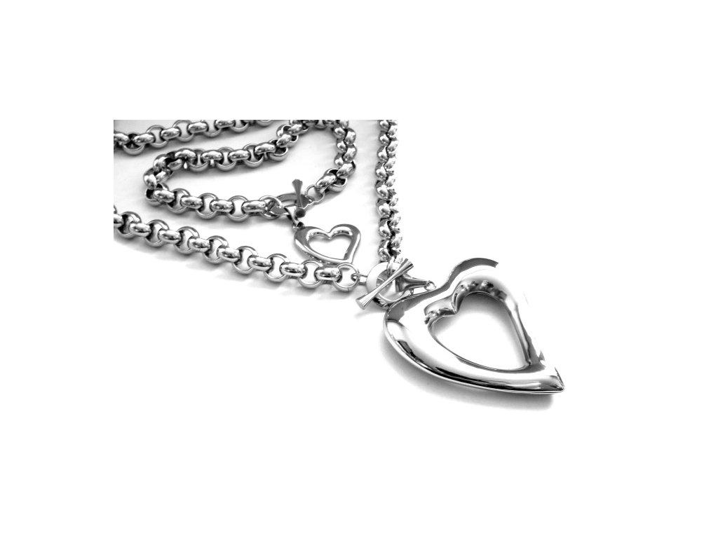 souprava - náhrdelník a náramek - chirurgická ocel - srdce - 090500