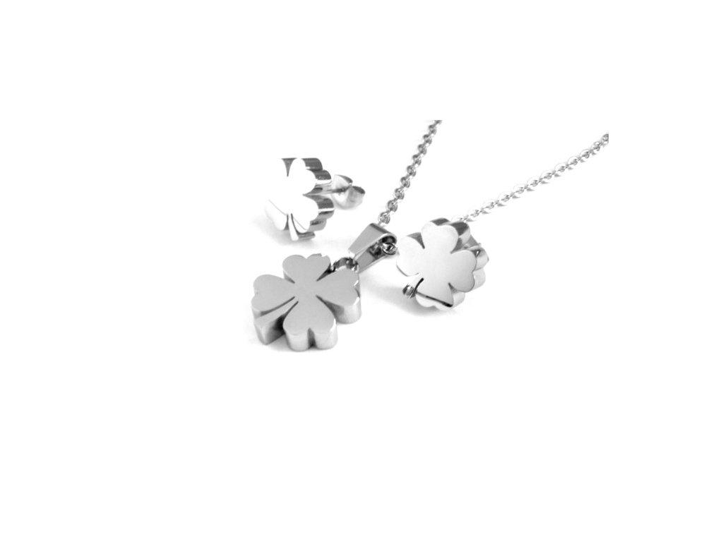 souprava - náhrdelník a náušnice - chirurgická ocel - čtyřlístek - 150106