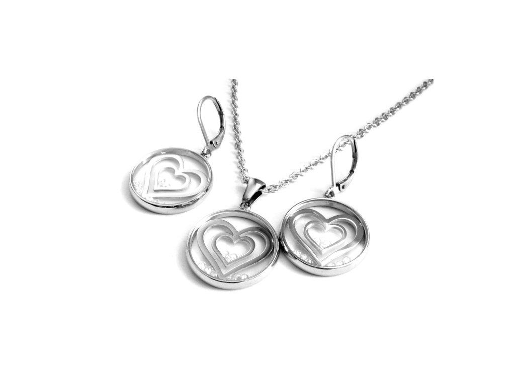 souprava - náhrdelník a náušnice - chirurgická ocel - srdce - 130160