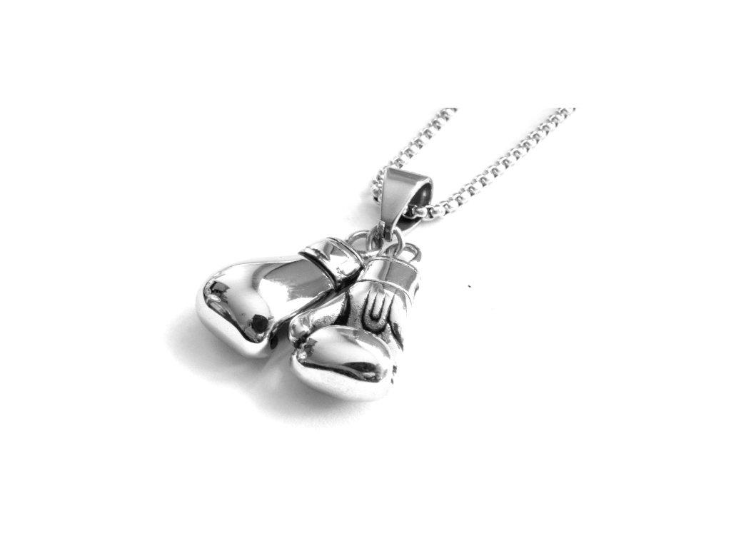 řetízek a přívěsek - náhrdelník - chirurgická ocel - boxerské rukavice - 130196