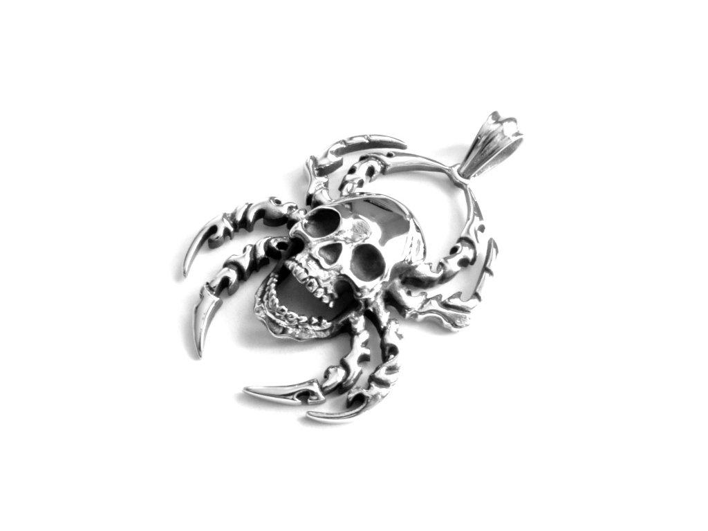 přívěsek - chirurgická ocel - pavouk s lebkou - 141111