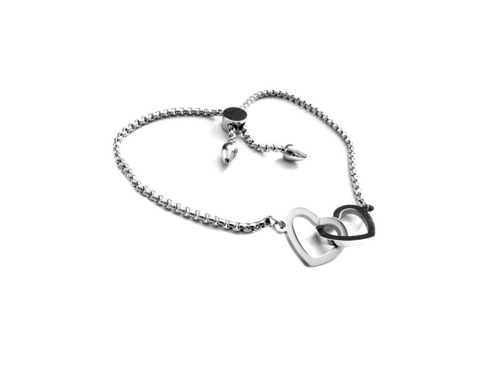 náramek - chirurgická ocel - propojené srdce - 090172