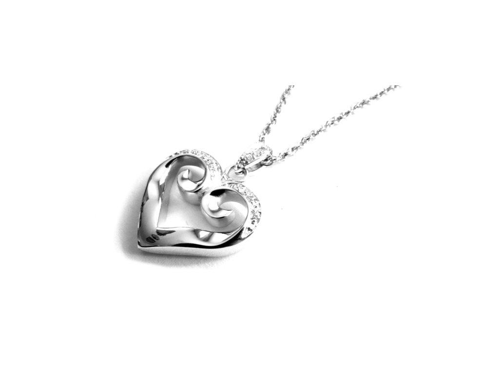 řetízek s přívěskem - chirurgická ocel - srdce - 090372