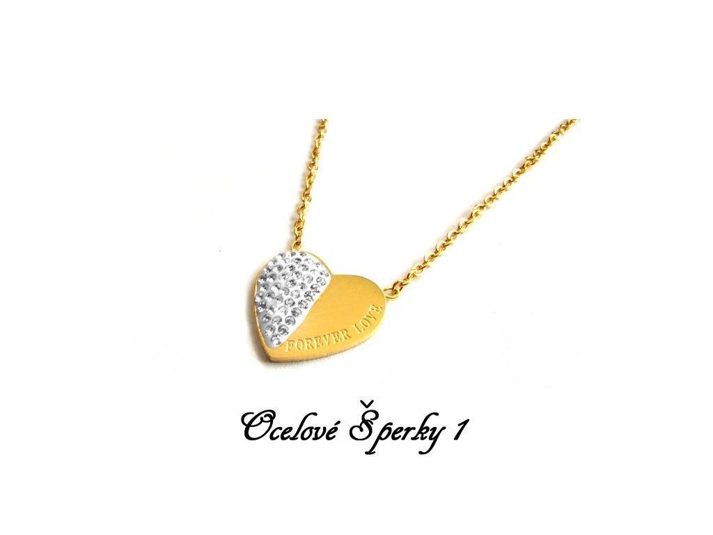 řetízek - náhrdelník - chirurgická ocel - srdce - 090389