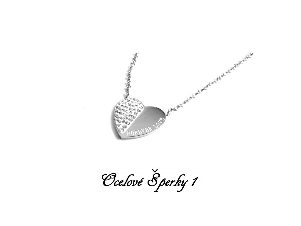 řetízek - náhrdelník - chirurgická ocel - srdce - 090371