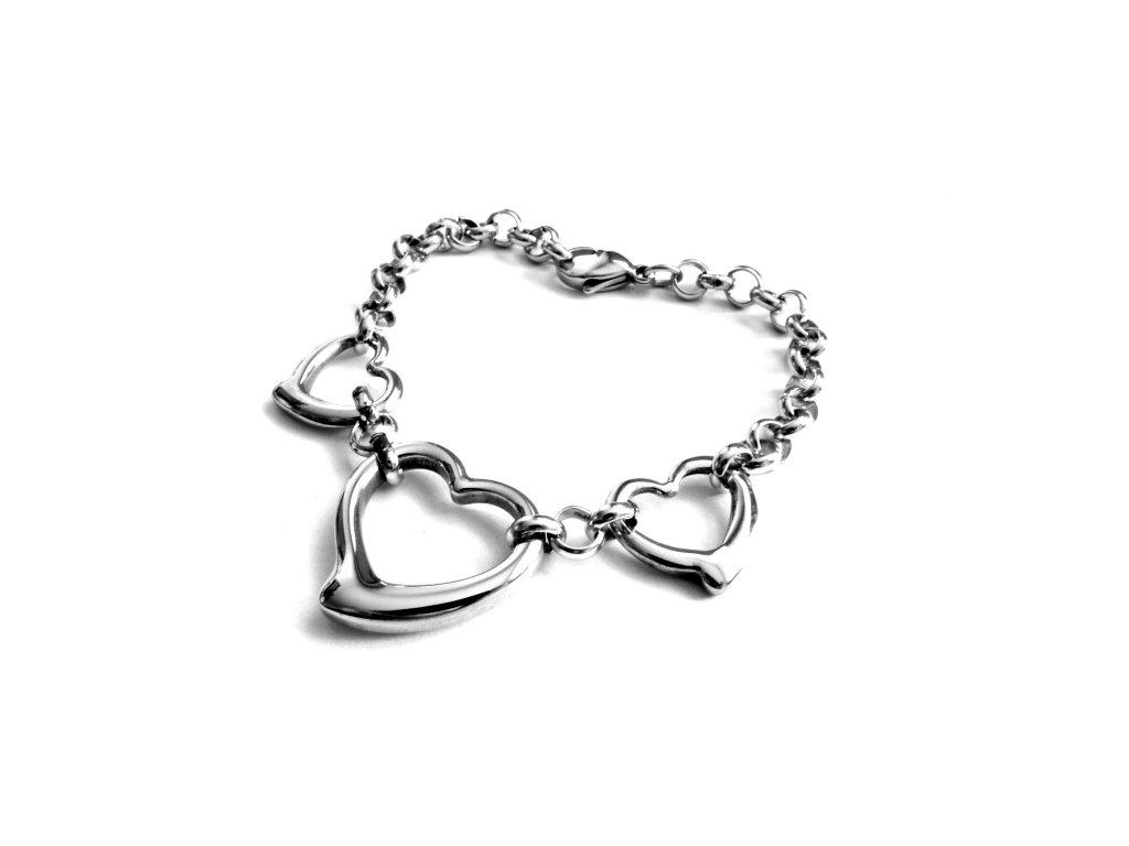 náramek - chirurgická ocel - srdce - dámský - 150103