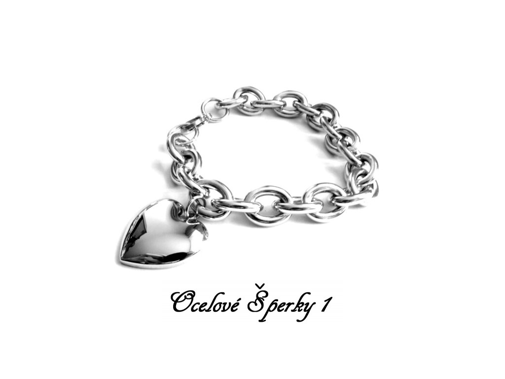 náramek - chirurgická ocel - dámský - srdce - 130191