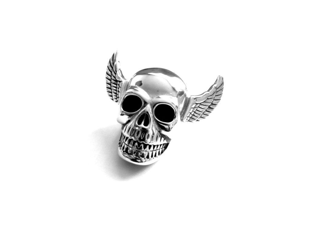 přívěsek - chirurgická ocel - lebka s křídly - 130148