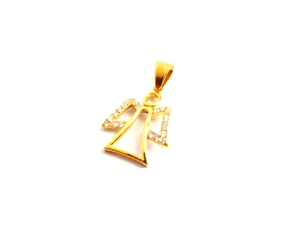 přívěsek - chirurgická ocel - anděl - gold - 090204