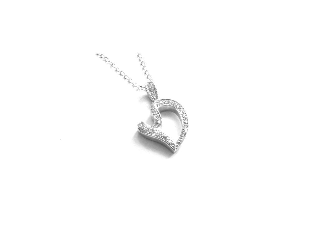 řetízek - náhrdelník - chirurgická ocel - srdce - 111119