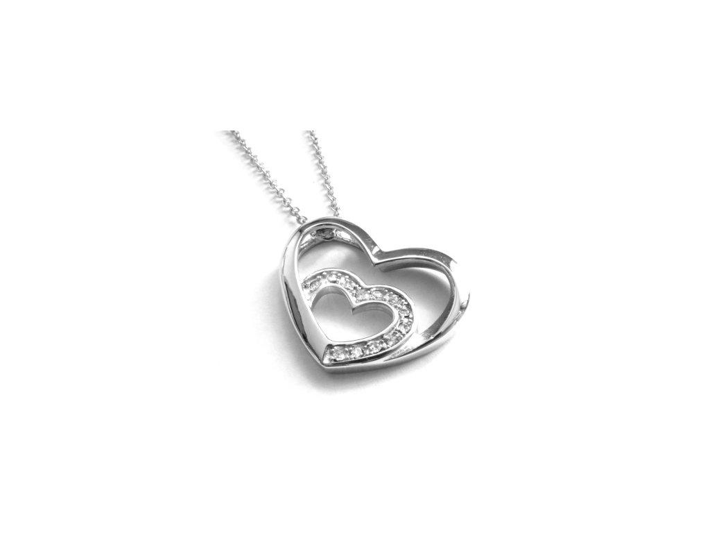 řetízek, náhrdelník - chirurgická ocel - srdce - 130104