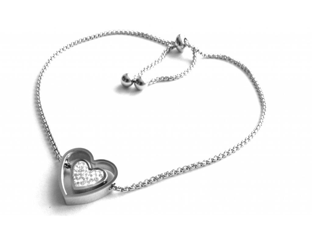 náramek - chirurgická ocel - srdce - 090335