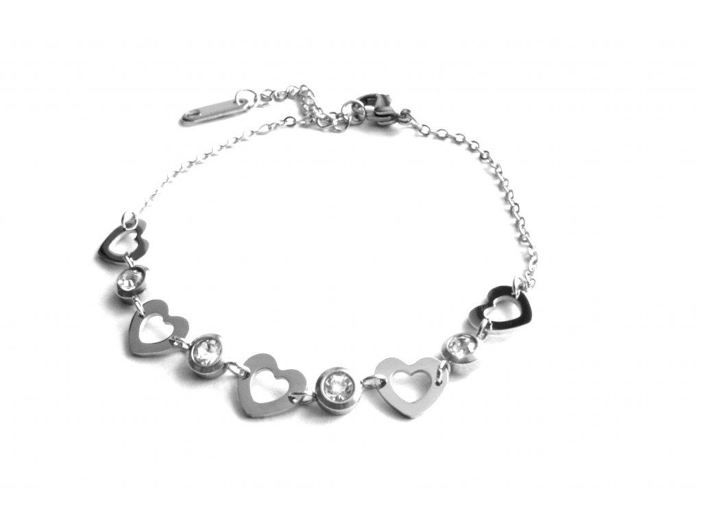 náramek - chirurgická ocel - dámský - srdce - 160214
