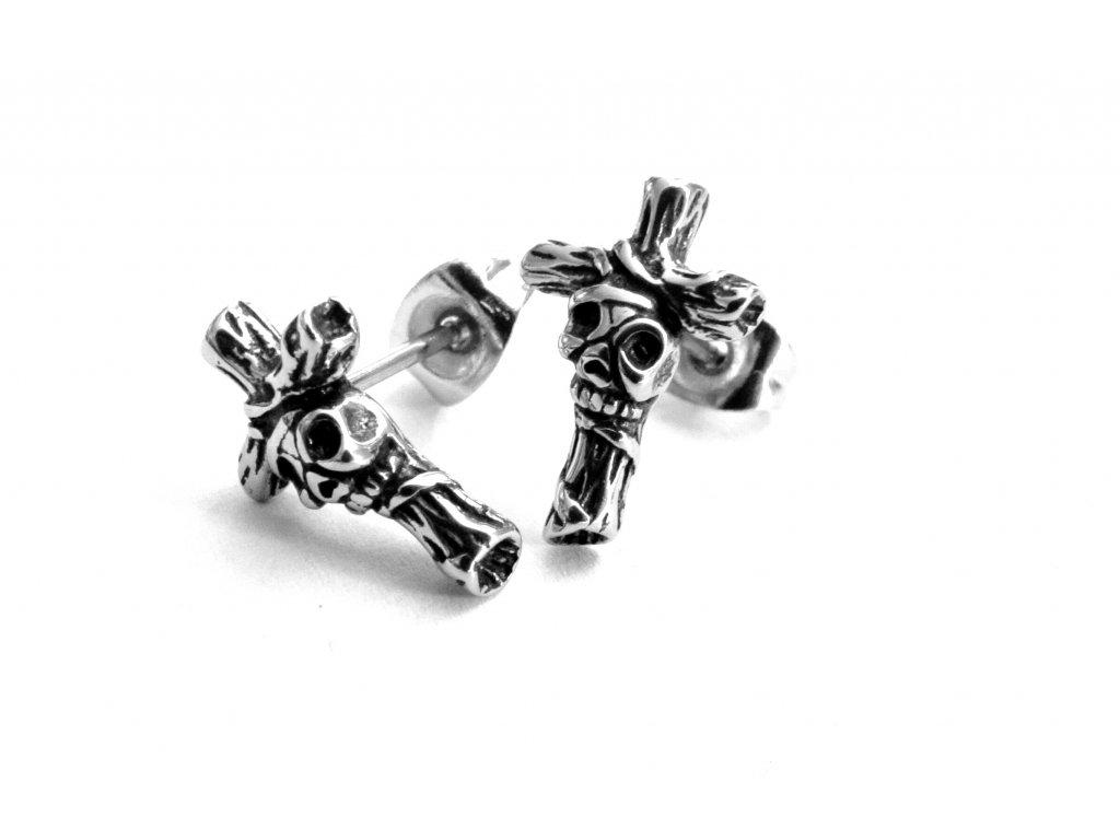 náušnice - chirurgická ocel - kříž - 090445