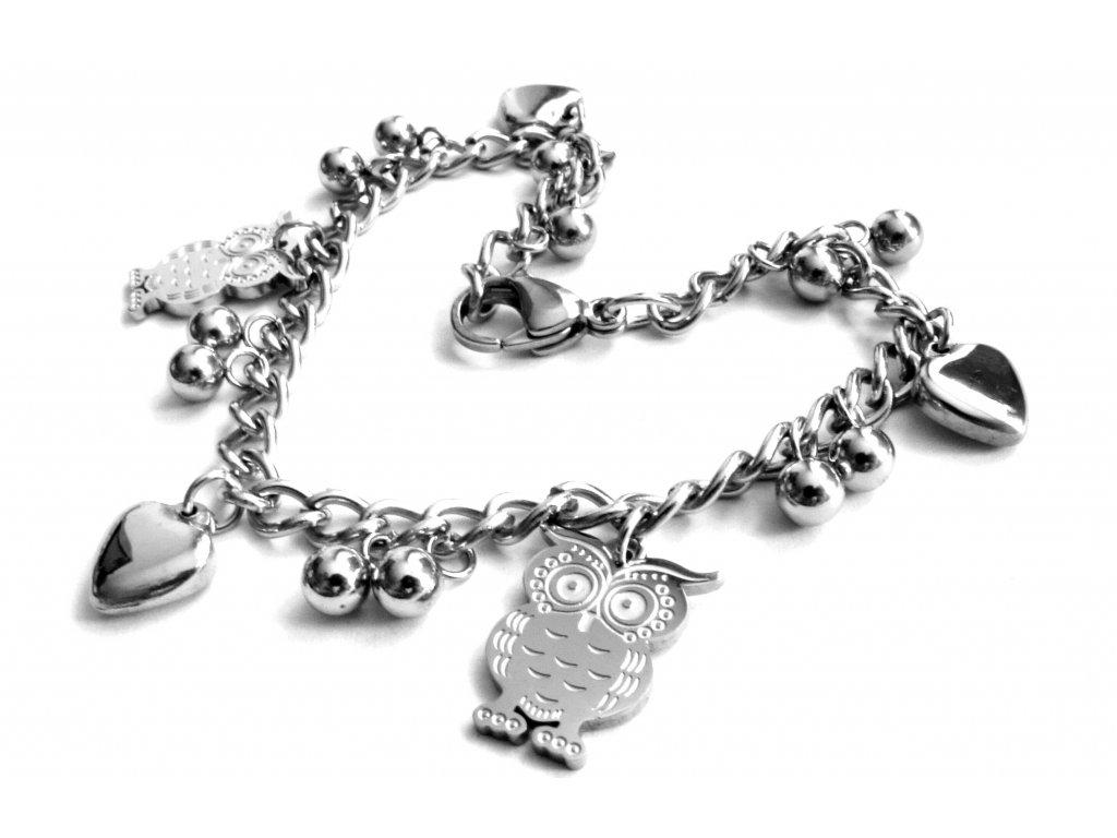 náramek - chirurgická ocel s přívěsky - sovy, srdce a kuličky - 090463