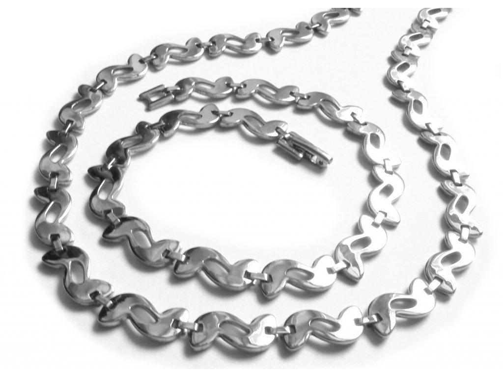 souprava - řetízek (náhrdelník) a náramek - chirurgická ocel - jemný - dámský - 140909
