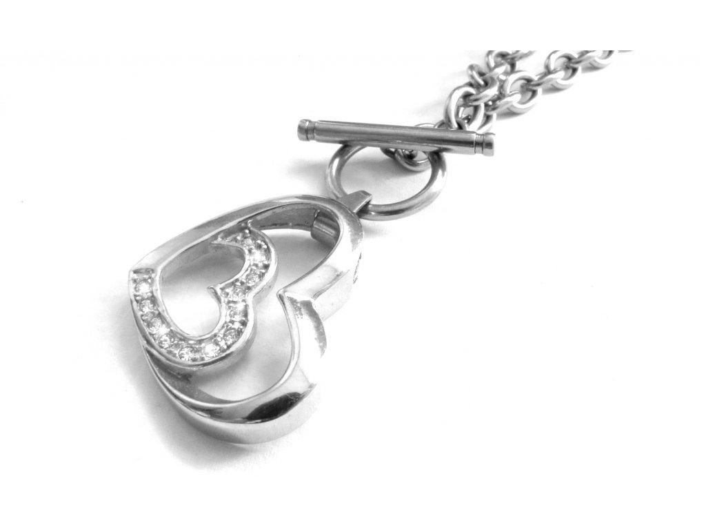 náhrdelník - chirurgická ocel - srdce - dámský - 150905