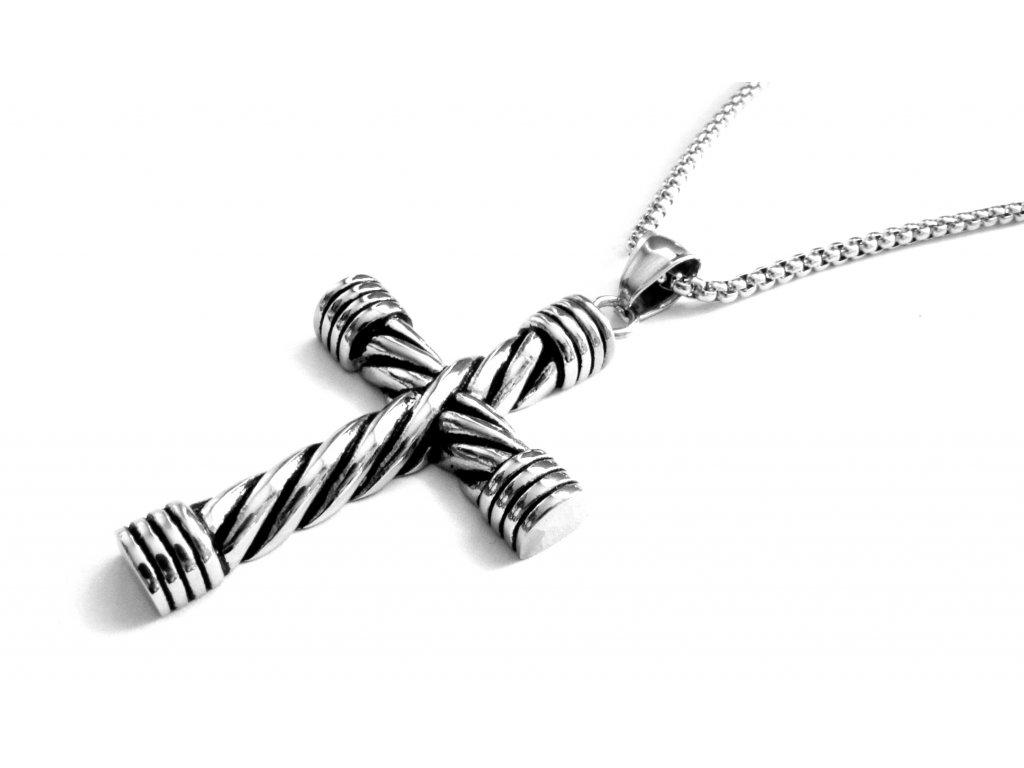 řetízek a přívěsek, náhrdelník - chirurgická ocel - kříž - 141104