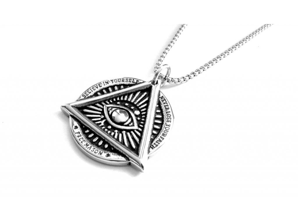 řetízek a přívěsek, náhrdelník - chirurgická ocel - boží oko - 151010