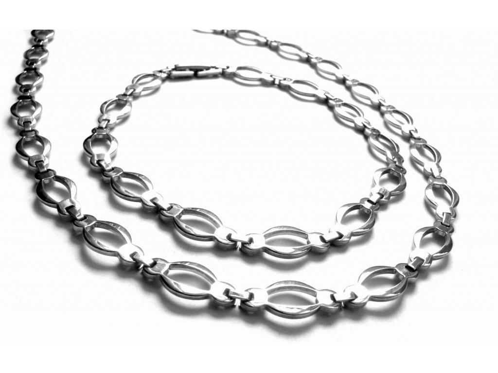 souprava - řetízek (náhrdelník) a náramek - chirurgická ocel - jemný - 151119