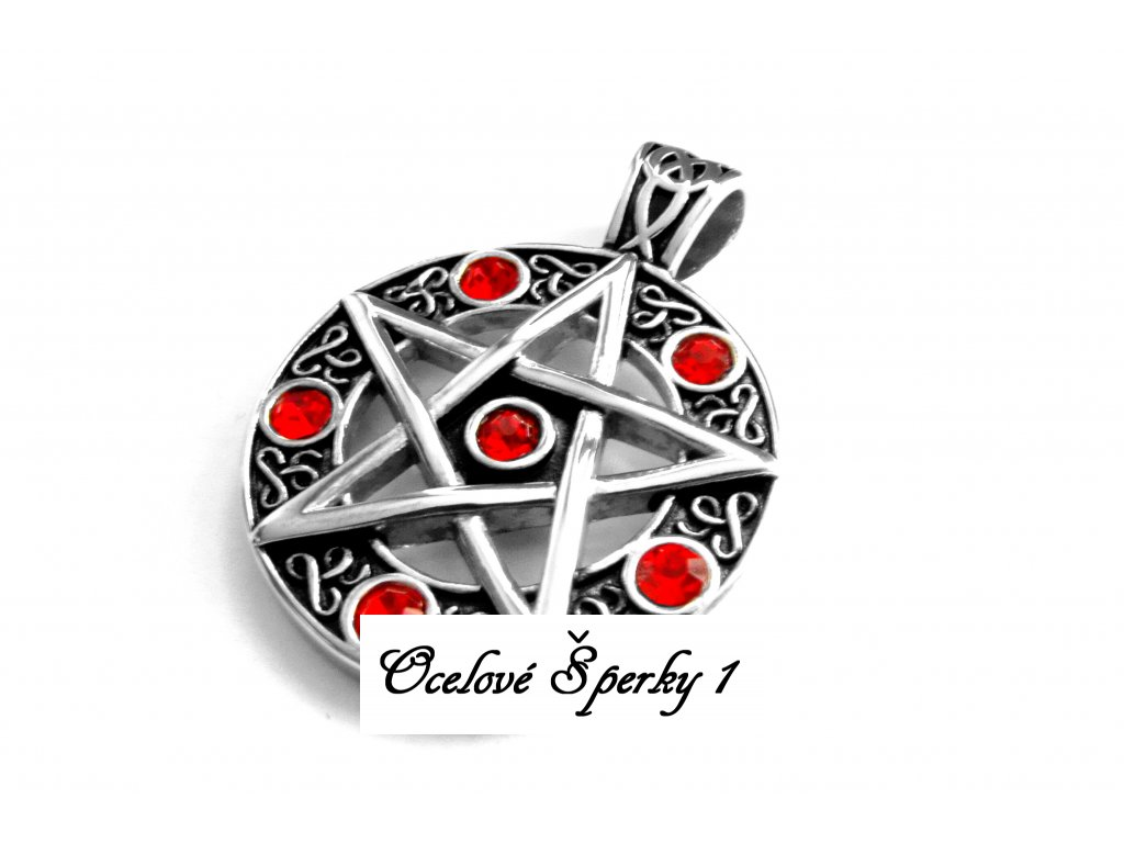přívěsek - chirurgická ocel - pentagram - 171025