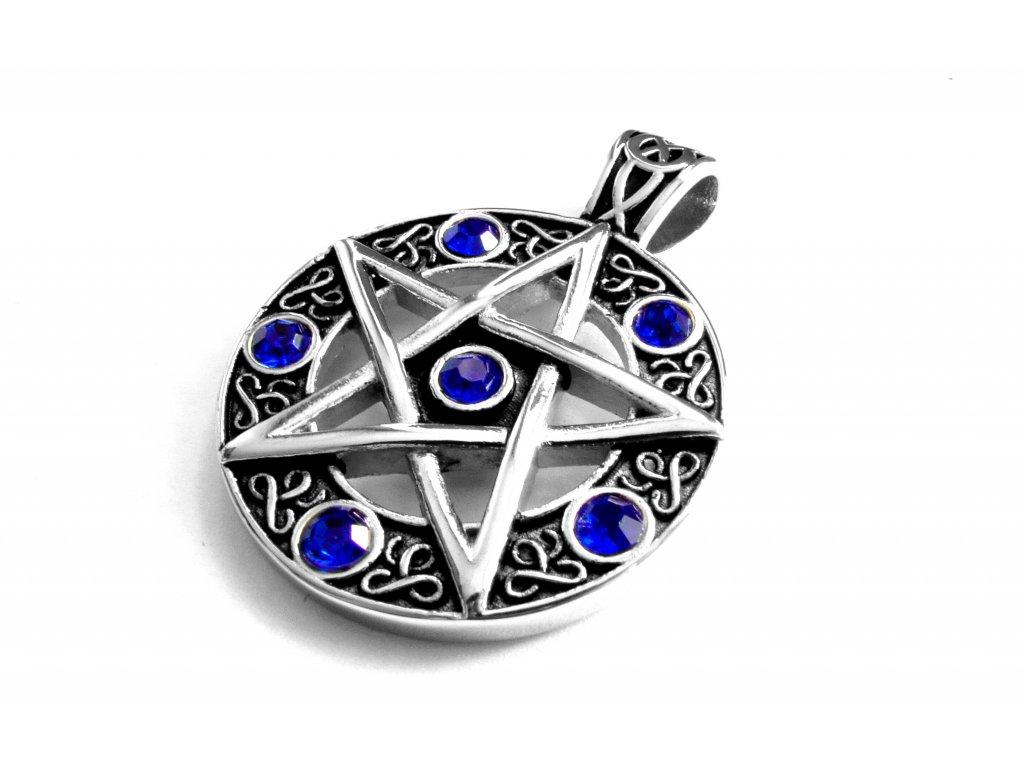 přívěsek - chirurgická ocel - pentagram - 171026