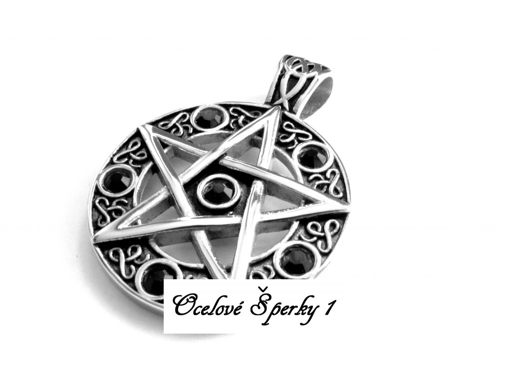 přívěsek - chirurgická ocel - pentagram - 171027