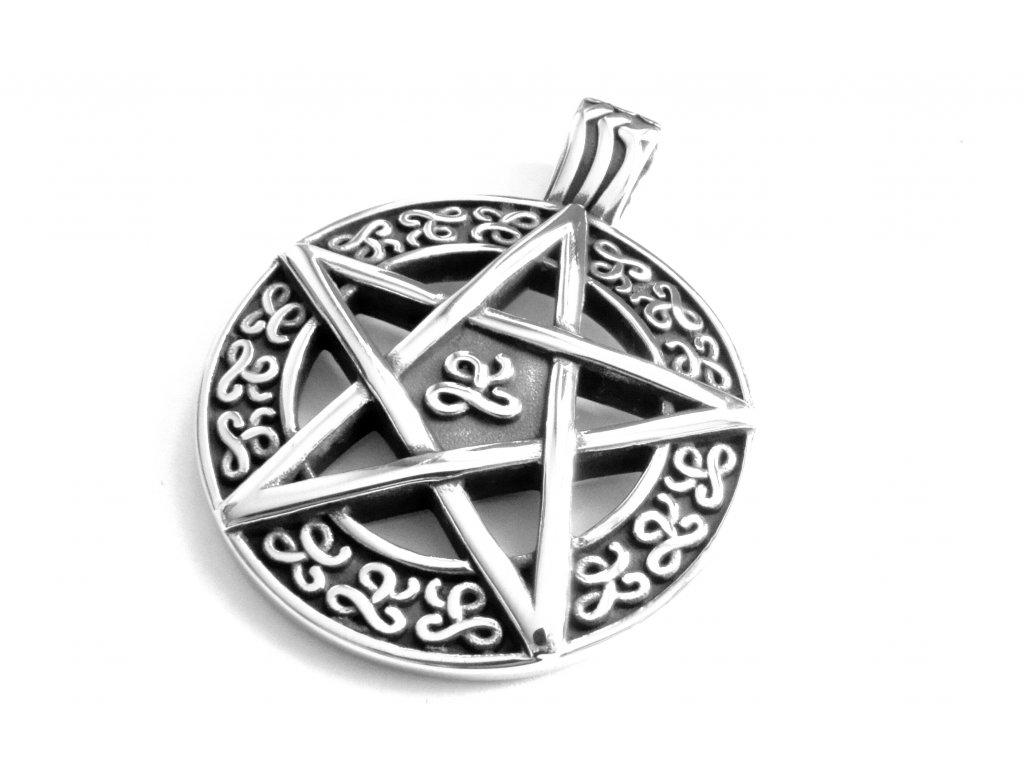 přívěsek - chirurgická ocel - pentagram - 150316