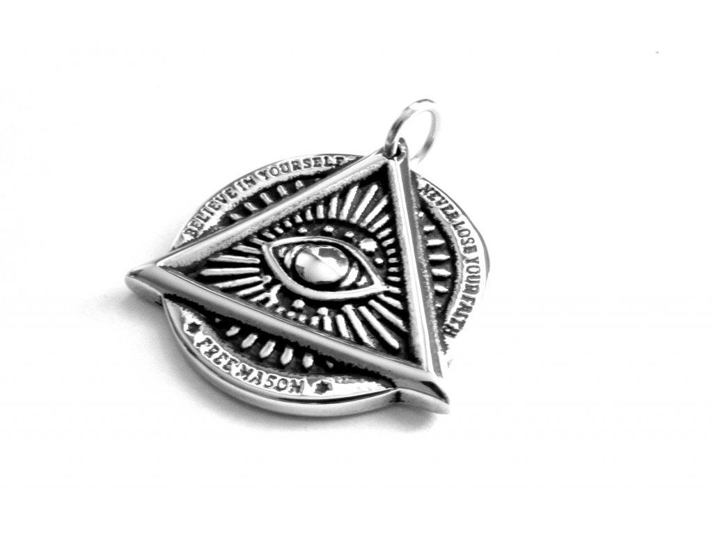 přívěsek - chirurgická ocel - boží oko - 140318