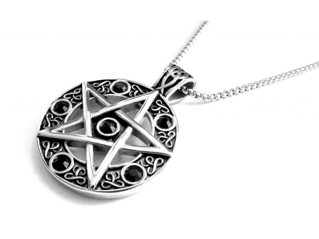 řetízek a přívěsek - náhrdelník - pentagram - 171039